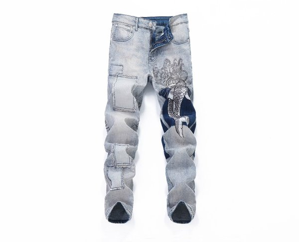 Fashion Trend Stretch Denim European And American Popular Spring and Summer Embroidery Carp Splicing Trim Jeans A6666