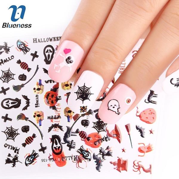 Blueness 24 fogli fai-da-te Serie Halloween Adesivi per unghie Decalcomanie per il trasferimento dell'acqua Impacchi per unghie Accessori per manicure Accessori di scorrimento