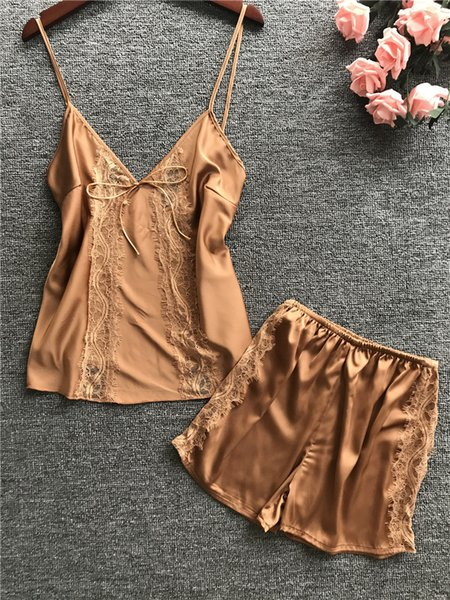Saf seksi pijama Kadın Saten Pijama Set Kısa Kollu Kadın Pijama 2019 Yaz Iki Parçalı Set Pijama Femme Rahat Pijama