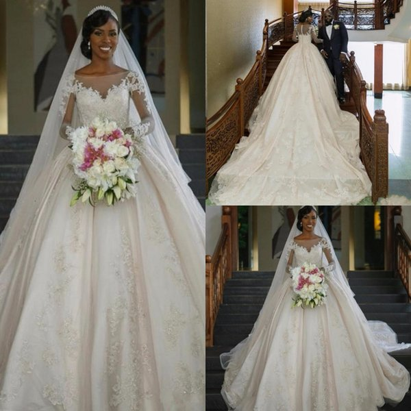 Gorgeous South African Lace Wedding Dress Sheer Neck Puffy Long Train Appliques Button Back Bridal Gowns Luxury country plus size cheap 2019