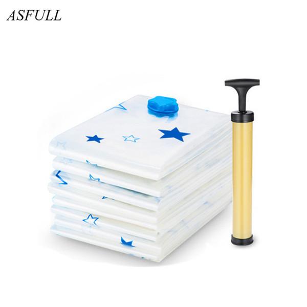 11pcs/set Thickened Vacuum Storage Bag Vacuum Compressed Bag With Hand Pump Reusable Blanket Clothes Quilt Storage Bag Organizer Q190429