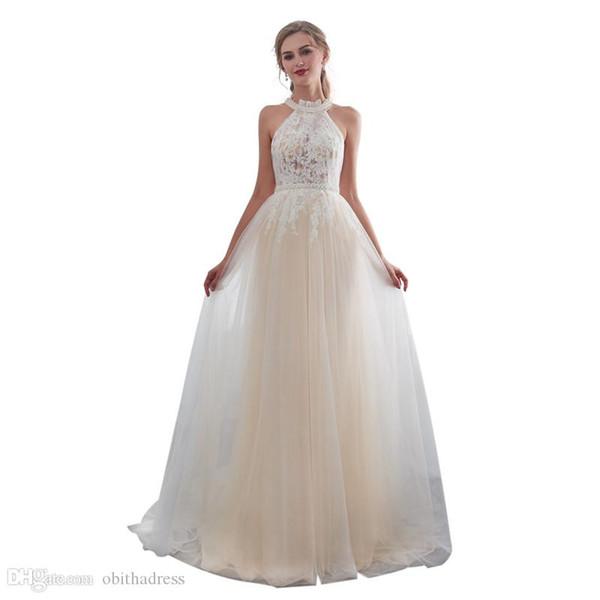 Elegant Prom Dress Pearl Halter Lace Thin Mesh Zipper Button Tail Evening Dress Beauty Dress Cheap