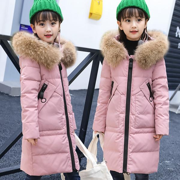 Filles Duvet De Veste Enfants D'hiver Blanc Canard Duvet Long Manteau Filles À Capuche Chaud Épais Nouveau Vêtements
