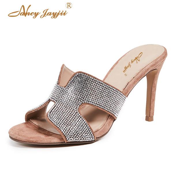Nancyjayjii zapatos de mujer Lady Crystal Zapatillas Diapositivas Super High Thin tacones Fuera Bordeado Maduro Clásico Ocio Sexy 2019