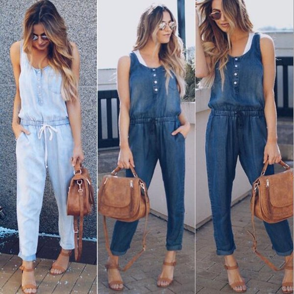Womens Jumpsuits Rompers Jeans Sexy Elegant Denim Jumpsuits Sexy Overalls Bodysuit Summer Clothing For Women casual New Fashion XZ040D