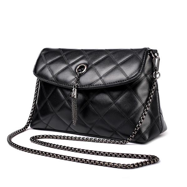 Petit sac pour femme Sac cartable tout-allumette à chaîne à losanges et glands en forme de petit paquet carré