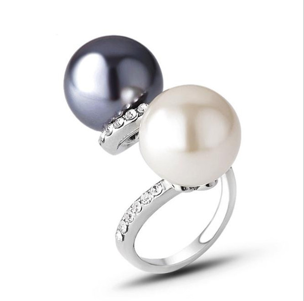 Good quality black and white pearl love ring gold ring for lovers couple ring Wedding Rings