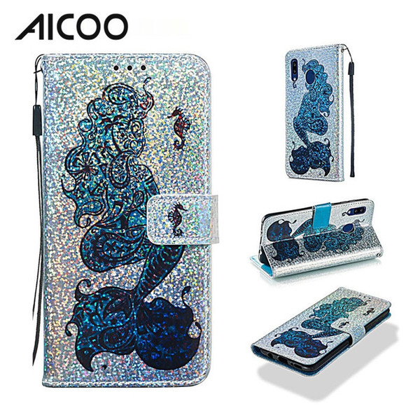 Custodia a portafoglio in pelle con logo lampeggiante di AICOO Bling con custodia per schede di supporto per iPhone XS Samsung A20 A30 Note10 Moto G7 Power OPP