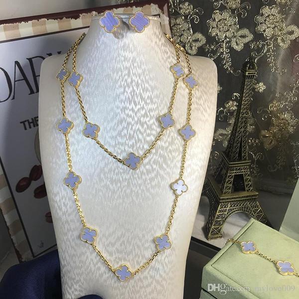 HOt 925 silver four leaf flower jewelry set for women wedding necklace bracelet earrings brown light purple clover mother shell CZ jewelry