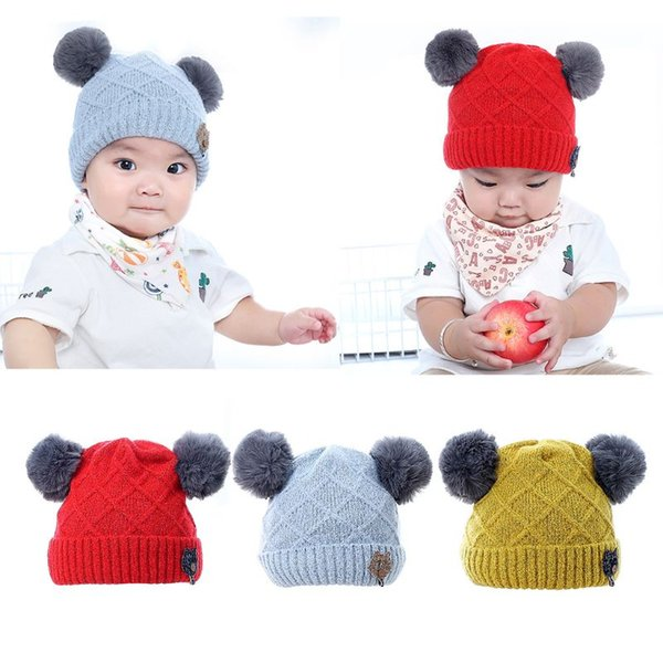 Infant Baby Winter Rhombic Knitted Cuffed Hat Solid Color Fluffy Pompom Ball Beanie Cap Thicken Double Layered Button Cat Appliq