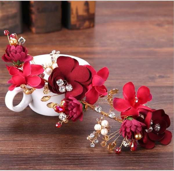 Abito da sposa fiore rosso, abito da vino, nastro per capelli, ornamento per capelli, copricapo fatto a mano da sposa antica, ornamento da sposa