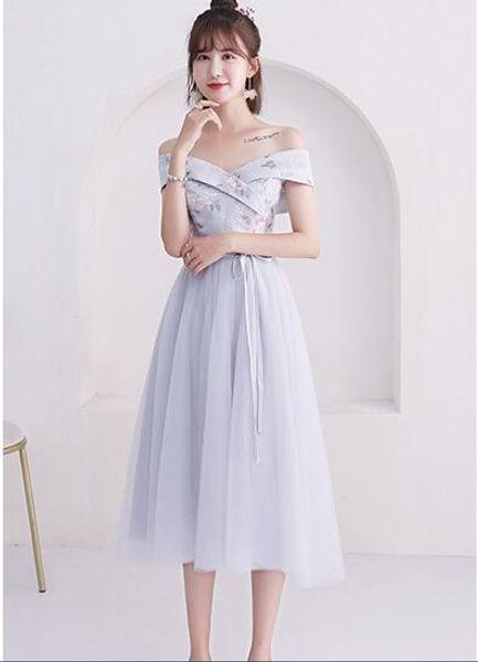 B1 vendita calda abiti da damigella d'onore 2018 New Elegant A Line con scollo a V grigio lungo abito da sposa partito Robe De Demoiselle D'honneur