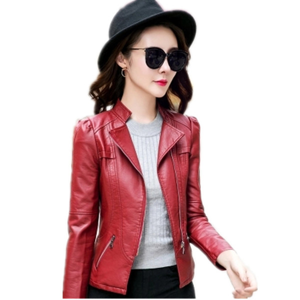 Faux Leather jacket With diagonal zipper black wine red female short Slim casual pu small coat motorcycle leather jackets AS972