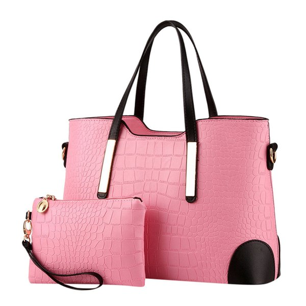 xiniu High Quality PU Leather Luxury Women Handbags 2Pcs Women's Ladies Pattern Pure Color Fashion Handbag+Wallets #0522