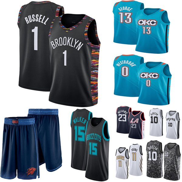 los angeles a329b ec08f 2019 Russell 0 Westbrook Paul 13 George Thunder Jersey DeMar 10 DeRozan  Spurs Brooklyn 1 Russell 11 Young 23 Williams Basketball Jerseys From ...