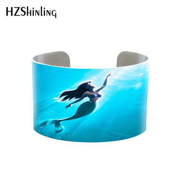 2019 La sirena de Little Mermaid cuff Mermaid's Treasure pulsera estampado de joyería hecho a mano brazalete de alto pulido