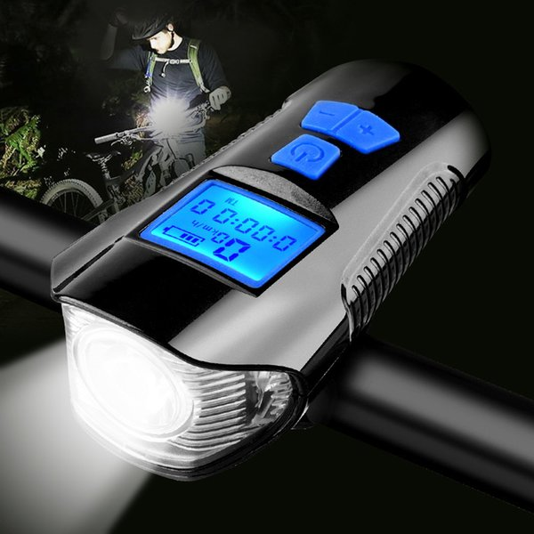 Waterproof Bicycle Usb Charging Bike Front Flashlight Handlebar Cycling Head Light W/ Horn Speed Meter Lcd Screen C19041301