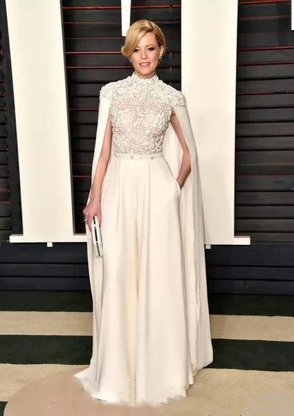 Elegant Arabic White Jumpsuits Evening Formal Wear With Long Cape High Neck 2019 Top Lace Appliques Caps Prom Party Dresses Celebrity Gowns