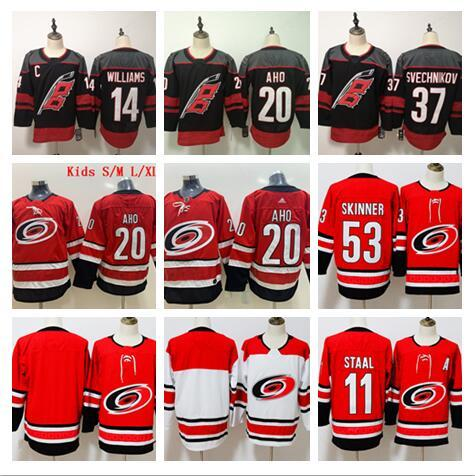 2019-2020 Stitched #37 SVECHNIKOV Carolina Hurricanes Blank #11 STAAL #53 SKINNER #20 AHO #14 WILLIAMS White Red black Hockey Jerseys Ice