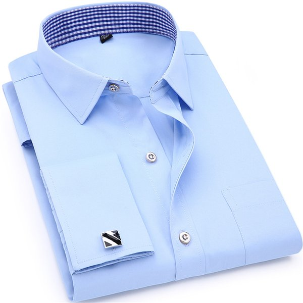 2019 White Long Sleeved Business Casual Shirt Slim Fit Solid Color French Cufflinks Shirt Men's Dress Shirts French Cuff Blue