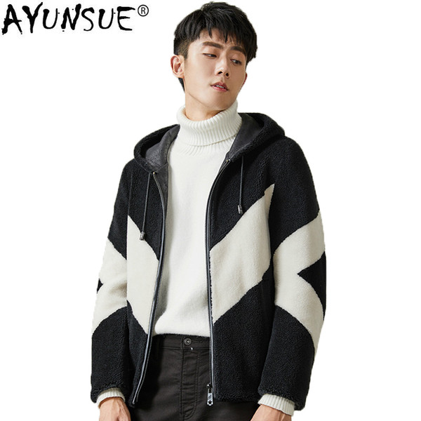 AYUNSUE Autumn Winter Jacket Men Sheep Shearing Short Real Fur Coat Men Slim Hooded Wool Jackets Jaqueta Masculina KJ1517