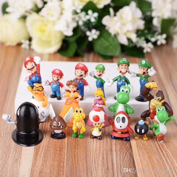 18pcs/set New High Quality PVC Super Mario Bros Luigi Action Figures youshi mario Christmas Gift retail