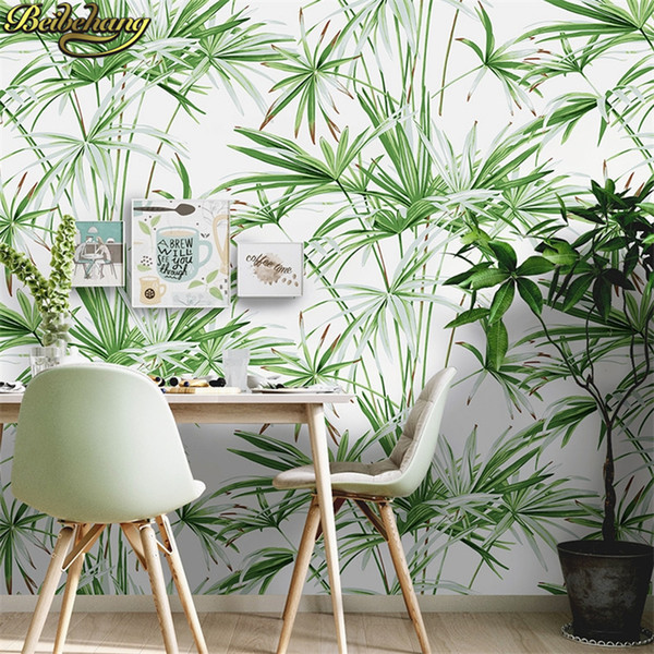 beibehang nórdica sudeste de Asia hoja de plátano rollo de papel selva dormitorio planta de decoración papeles de pared papel tapiz de fondo casa