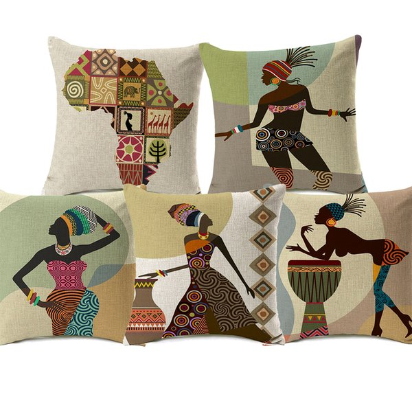 best selling 18 Styles Modern Fashion African Woman Dance Cushion Covers Folk Exotic Africa Life Painting Map Art Cushion Cover Sofa Linen Pillow Case