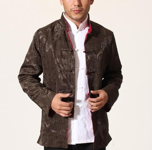 Fall-Brown Red Silk Satin Reversible Kung Fu Jacket Chinese Style Two Sided Coat National Trends Tang Suit Size M L XL XXL XXXL MN07