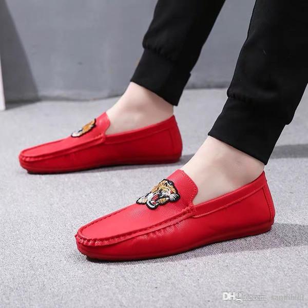Boyalı Bezelye Ayakkabı Yaz Sosyal Erkek Ayakkabı Tembel Adam Eğlence Yakışıklı AyakkabıGüney hayvan desen kişilik mizaç