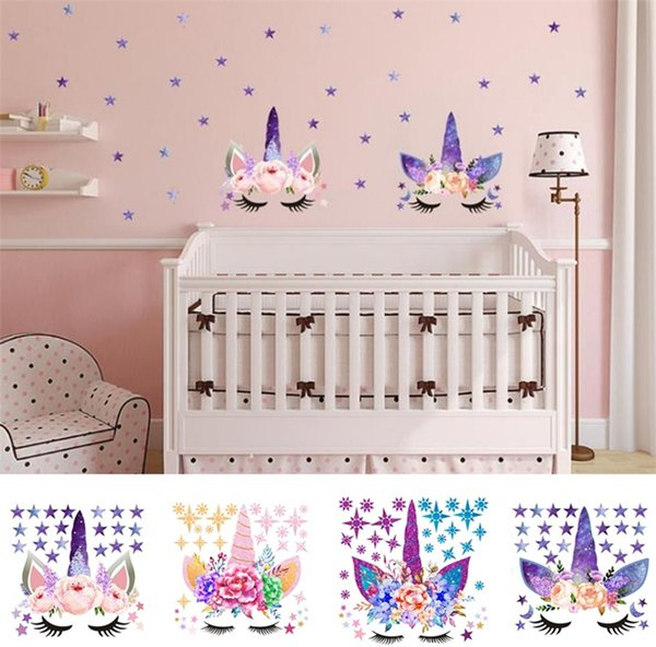 Three Style DIY Unicorn Stickers Cartoon Star Wall Stickers Star Flower  Wall Sticker Children\'S Bedroom Wall Sticker T6I6003 Home Wall Decal Home  Wall ...