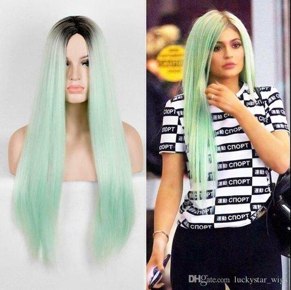 Mode Deux Tons Ombre Cheveux Synthétiques Avant de Lacet Perruques Vert Clair Long Droit Droit Résistant À La Chaleur Partition Cosplay Partie Femmes Perruques