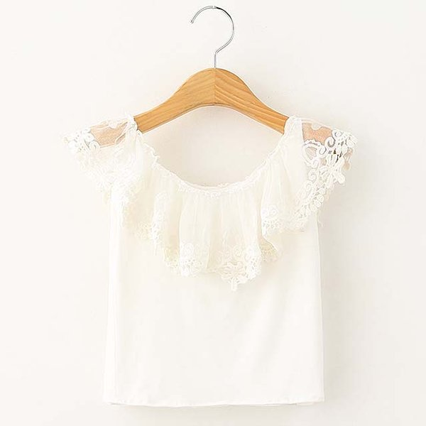 Fashion Girl Dress White Shirt Child Clothes Kids Clothing 2019 Summer Sleeveless T Shirt Lace T-Shirt Girls Tops Children T Shirts C19525