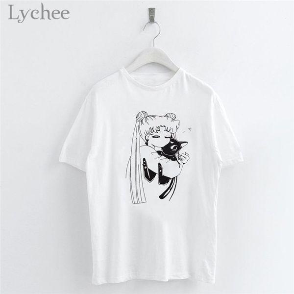 Lychee Harajuku Sailor Moon Cartoon Print Women T Shirt Casual Short Sleeve O-Neck White T Shirt Tee Top Female