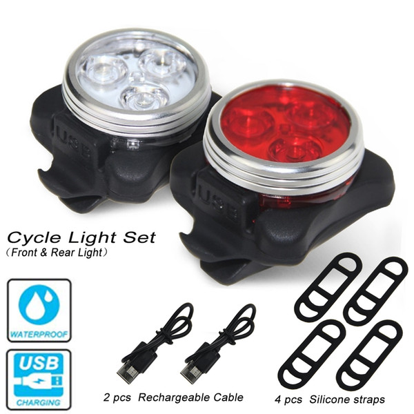 USB Recharge Bike Light 3 LED Head Front Rear Tail light Rechargeable Battery With 2 PCS USB Charging Cable 4 pcs traps