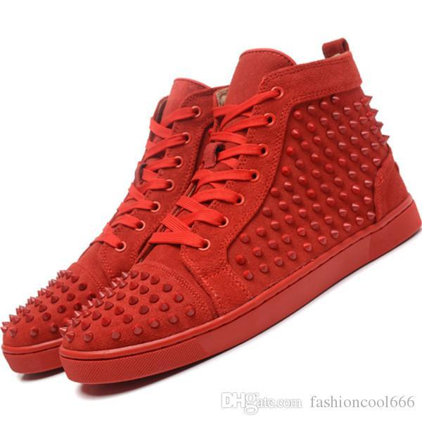 2018 Top borchie con borchie Casual Flats Red Bottom Luxury Shoes Novità per uomo e donna Party Designer Sneakers Lovers Genuine Leather n07