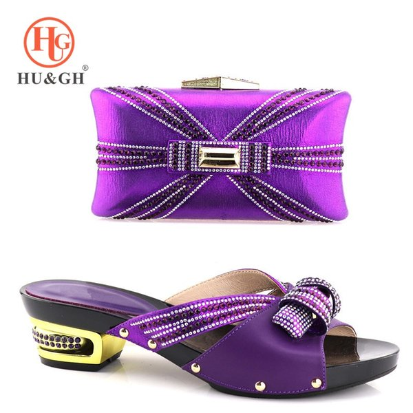 New African Shoes and Bag Sets Purple Color Italian Shoes with Matching Bags High Quality Women and Bag To Match for Party #37554