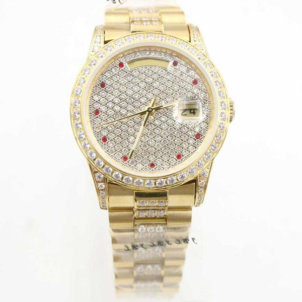 New Hot Sale Brand President DAY DATE Fashion Luxury Men Wrist AUTOMATIC Diamond Bezel Mens Watches Stainless Iced Out DIAL Watch