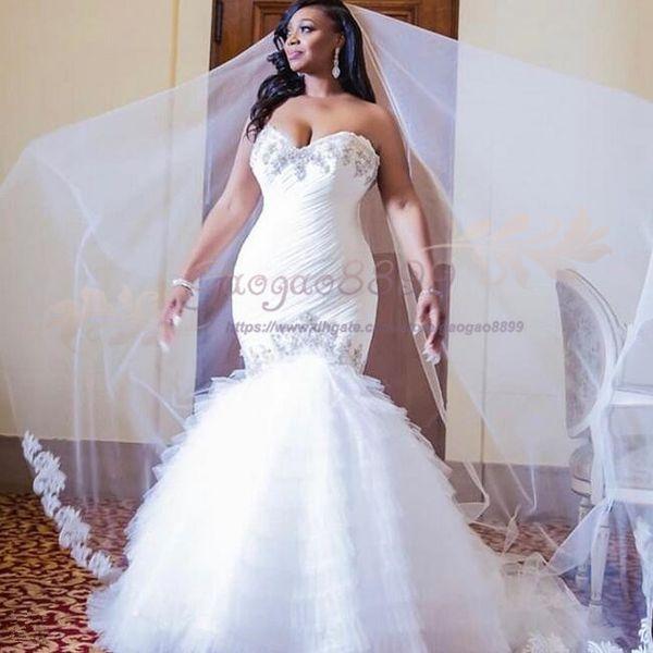 2019 Arabic Luxurious sweetheart Mermaid Wedding Dresses Crystals Bridal Gown Appliques Bridal Wedding Gowns tulle Ruffles Vestido De Novia