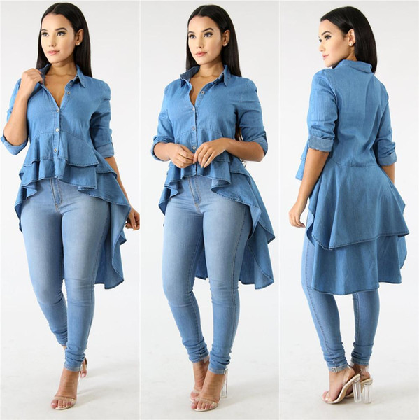 Blue Denim Casual Shirt Dress Spring Autumn Turn Down Collar Long Sleeve Top Special Front Short Back Long Double Ruffles Blouse