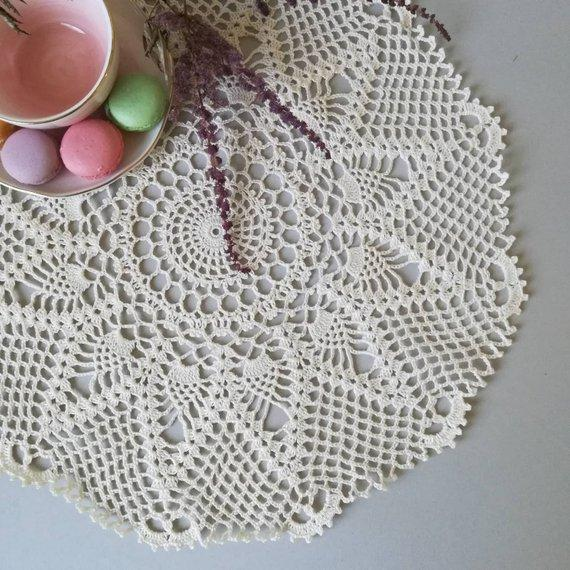 Handmade Crochet Placemats cup mat, White Ecru Doily ,cup pad,coaster ,crochet applique Diameter 34 cm. - 13 inches, 1Pcs/Lot