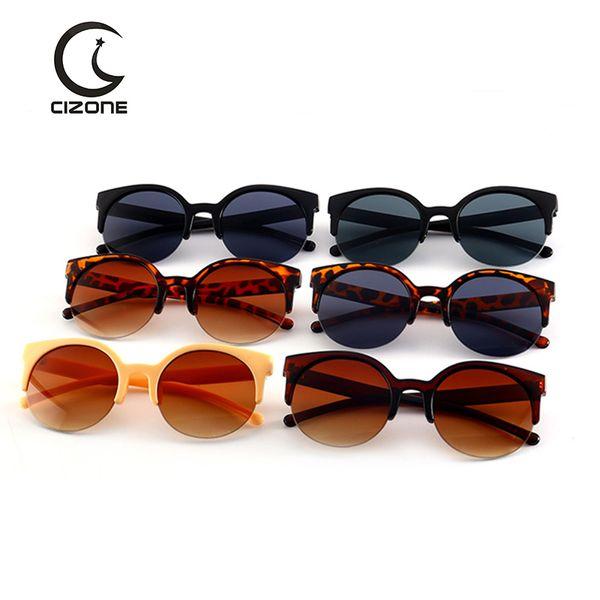 Le donne calde d'epoca di lusso semi-rimless occhiali da sole del progettista di marca rotondo del cerchio Lens Sunglasses Moda Cat Eye donne