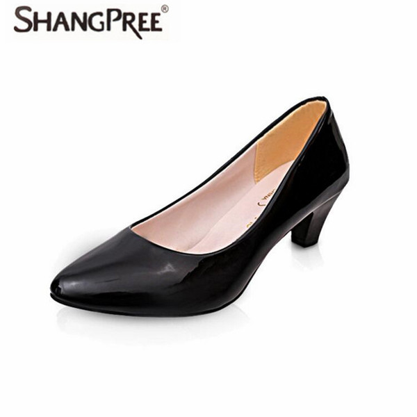 Designer Dress Shoes SHANGPREE N Women Med Heels New High Quality Leather Classic 3-5cm Pumps for Office Ladies high heels