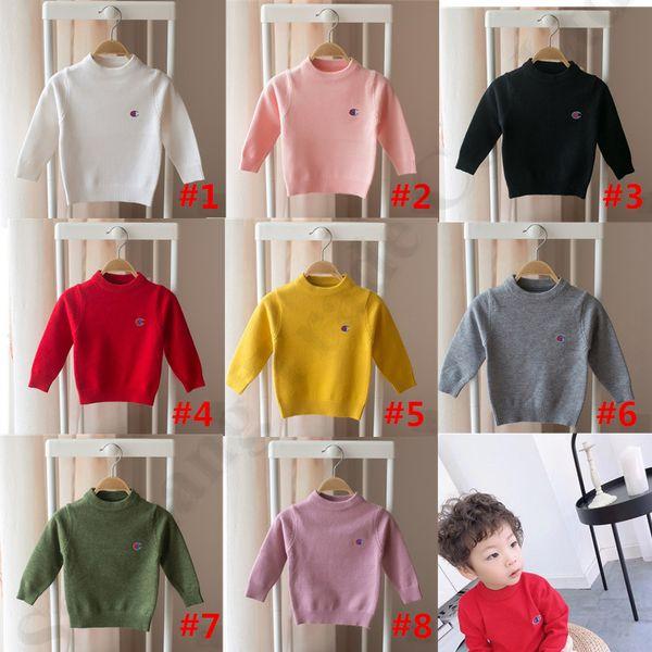 Champion Kid's Knitted Sweaters Pullover Diseñador de la marca Autumn Rabbit Hair Hoodies Top Boys Girls Sudadera Prendas de punto Jumper Clothes C82606