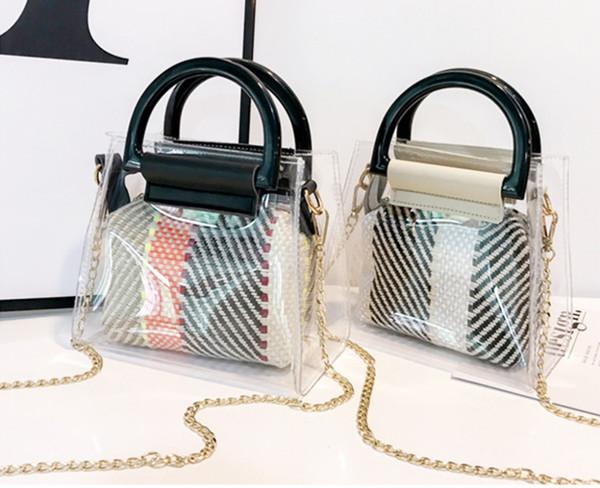 Damenmode Transparent Acryl Armband Umhängetasche Handtasche Diagonal Paket Damen Kette Taschen