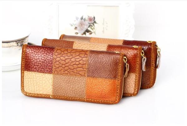 Fashion folk vent dame seul tirer en cuir véritable portefeuille féminin Long créatif caractéristiques femme portefeuille en cuir à la main