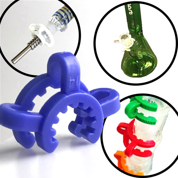 Cheapest ! 10mm 14mm 19mm Plastic Keck Clip for Bong Adapter Downstem Water Pipes Manufacturer Laboratory Lab Clamp Colorful Clips
