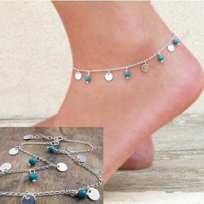 Gold Silver Chain Turquoise Anklet Layering Blue Turquoise Bohemia Anklet For Women Ladies Girls Sexy Anklets