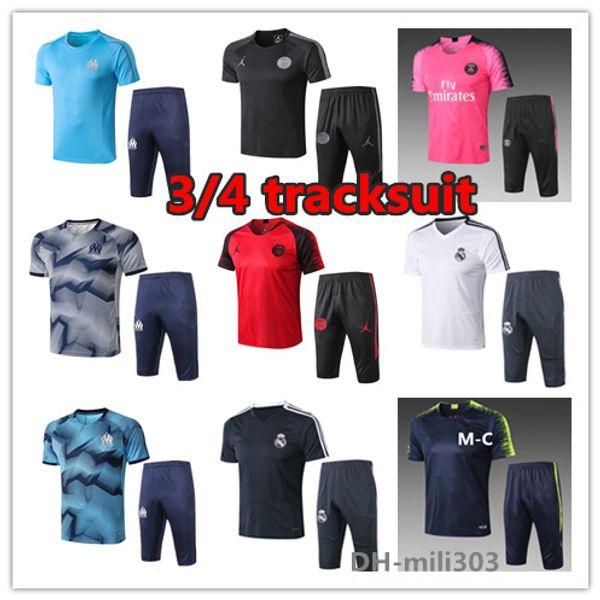 2019 2020 Psg camiseta de fútbol de manga corta survetement 19 20 Real Madrid PELIGRO Marsella FR pogba mbappe 3/4 pantalones traje de entrenamiento de fútbol
