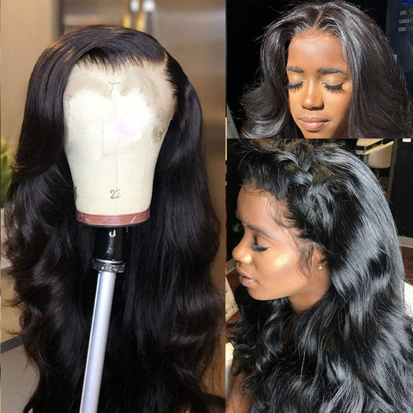 Dentelle brésilien Cheveux Frontal perruque Pré non transformés pincées avec bébé cheveux sans colle avant de dentelle perruque vague de corps humain cheveux pour les femmes noires